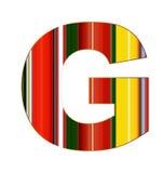 Письмо g в красочных линиях на белой предпосылке Стоковое фото RF