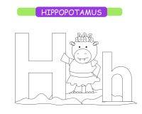 Письмо h и смешной бегемот мультфильма Крася страница E Милый алфавит зоопарка в векторе для детей уча Englis иллюстрация штока