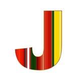 Письмо j в красочных линиях на белой предпосылке Стоковые Изображения