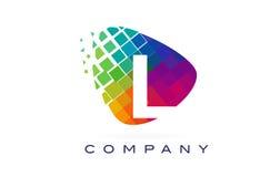 Письмо l красочный дизайн логотипа радуги Стоковое Изображение