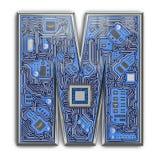письмо m Алфавит в стиле монтажной платы Письмо высок-техника цифров изолированное на белизне стоковые изображения rf