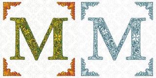 Письмо m вектора Элегантный сделанный по образцу шрифт вензель Алфавит от орнамента лист Викторианский тип handmade иллюстрация штока