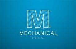 Письмо m логотипа в стиле технического чертежа Стоковые Изображения