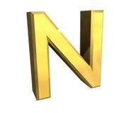 письмо n золота 3d иллюстрация штока