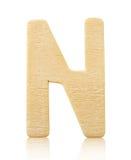 Письмо n одиночного прописного блока деревянное Стоковые Фотографии RF