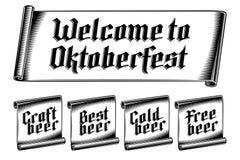 Письмо Oktoberfest Inscripnion ярлыка бирки ленты винтажное готическое немецкое Стоковые Изображения RF
