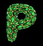 письмо p диаманта 3D на изолированной черноте Стоковое Изображение
