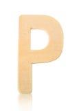 Письмо p одиночного прописного блока деревянное Стоковое фото RF