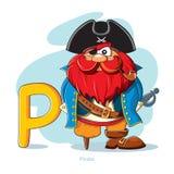 Письмо p с смешным пиратом Стоковые Изображения