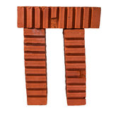 Письмо Pi сделанное кирпичей Стоковая Фотография