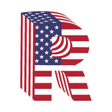 Письмо r латинского алфавита флага 3d США Текстурированный шрифт Стоковая Фотография RF