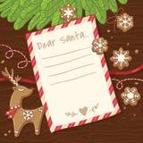 письмо santa claus к Рождественская открытка с печеньями пряника иллюстрация вектора