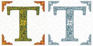 Письмо t вектора Элегантный сделанный по образцу шрифт вензель Алфавит от орнамента лист Викторианский тип handmade бесплатная иллюстрация
