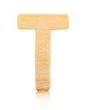 Письмо t одиночного прописного блока деревянное Стоковая Фотография RF