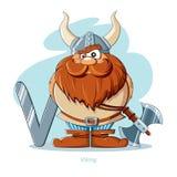 Письмо v с смешным Викингом Стоковая Фотография