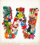 Письмо w от игрушек стоковые фотографии rf