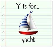 Письмо y Flashcard для яхты Стоковая Фотография RF