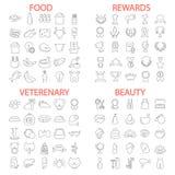 Питание бобра Магазин Veterenary Вознаграждения и медали выравнивают набор значков иллюстрация вектора