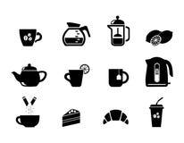 Питание Еда и пить Чай и кофе Десерт Установленные значки иллюстрация вектора