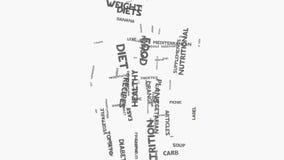 Питание еды диеты женщины и wordcloud здоровья отправляют СМС оформление иллюстрация штока