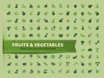 Питание овощи иконы плодоовощ установленные Стоковые Изображения