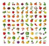 Питание Фрукты И овощи покрашенные установленные иконы Стоковые Изображения RF