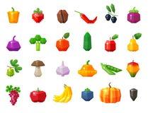 Питание Фрукты и овощи установили значки вектор Стоковое фото RF