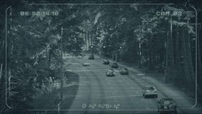 Питание CCTV шоссе через лес видеоматериал