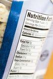 Питания факта калории ярлыка итога насыщенного жирного стоковые изображения