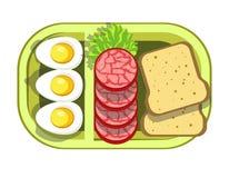 Питательный вкусный обед в удобном зеленом пластмасовом контейнере иллюстрация вектора