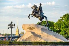 Питер большой памятник (бронзовый наездник) Стоковые Фотографии RF