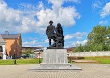 Питер памятник больших и Nikita Demidov в Nevyansk, России Стоковое Изображение RF