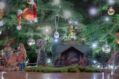 Питомник рождества под рождественской елкой Стоковая Фотография RF