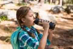 Питьевая вода девушки в лесе Стоковые Фотографии RF