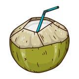 Питье воды кокоса Зеленый свежий выпивая кокос изолированный на белой предпосылке Стоковая Фотография