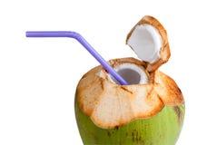 Питье воды кокоса Стоковые Изображения