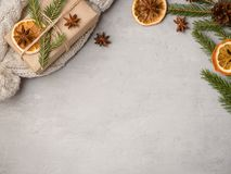 Питье горячего шоколада зимы в чашке на tangerines украшениях серых конкретных предпосылки праздничных копирует космос Стоковые Фотографии RF