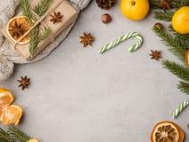 Питье горячего шоколада зимы в чашке на tangerines украшениях серых конкретных предпосылки праздничных копирует космос Стоковое Изображение