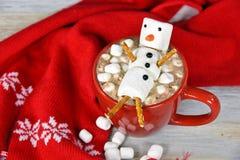 Питье горячего шоколада с снеговиком зефира Стоковое фото RF