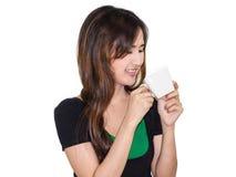 Питье девушки кофе Стоковое фото RF