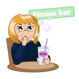 Питье девушки протеин иллюстрация вектора
