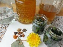 Питье лимона цветков одуванчиков, бутоны одуванчика стоковая фотография