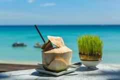 Питье кокоса на таблице Стоковое Изображение