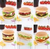 Питье колы еды меню cheeseburger собрания гамбургера установленное Стоковое Изображение