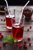 Питье клюквы в стеклах с соломами Стоковые Изображения
