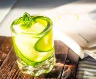 Питье огурца на книге Стоковые Фото