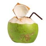 Питье плодоовощ воды кокоса изолированное на белизне Стоковые Фото