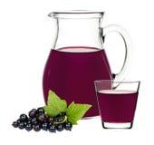 Питье смородины в стекле и графинчике с смородинами ягод Стоковые Фото