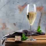 Питье спирта, напиток, игристое вино шампанского в стекле каннелюры Стоковое Изображение RF