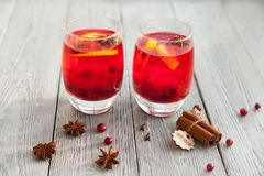 Питье 2 ягод с специями на холодная зима Стоковое фото RF